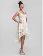 New Zealand Cocktail Party Dresses Homecoming Prom Gowns Wedding Party Dress See Through A Line Princess V Neck Asymmetrical Lace With Lace