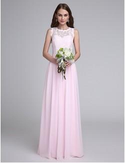 Long Floor Length Chiffon Lace Bridesmaid Dress Sheath Column Jewel With Lace