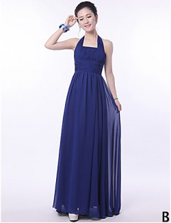Long Floor Length Bridesmaid Dress A Line Halter Sexy One Shoulder Strapless V Neck Straps With