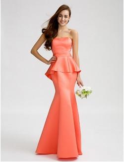 Long Floor Length Satin Bridesmaid Dress Trumpet Mermaid Strapless With Sash Ribbon