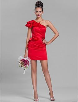 Short Mini Satin Bridesmaid Dress Sheath Column Sexy One Shoulder Plus Size Petite With Ruffles Sash Ribbon