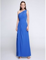2017 Ankle Length Chiffon Bridesmaid Dress Elegant Sheath Column Sexy One Shoulder With Side Draping