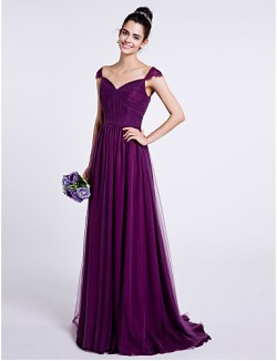 Sweep Brush Train Tulle Bridesmaid Dress A Line Sweetheart With Draping Ruching