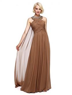 Long Floor Length Chiffon Bridesmaid Dress Ball Gown Halter With Beading