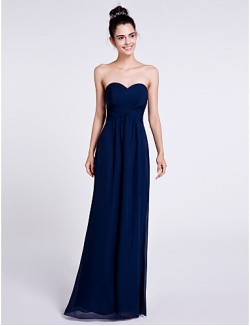 Long Floor Length Chiffon Bridesmaid Dress Sheath Column Sweetheart With