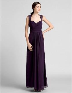Long Floor Length Chiffon Bridesmaid Dress Sheath Column Sweetheart Plus Size Petite With Draping Criss Cross Ruching