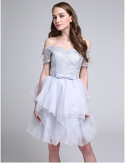 Short Knee Length Lace Bridesmaid Dress Ball Gown Bateau With Bow