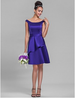 Short Knee Length Satin Bridesmaid Dress A Line Off The Shoulder Plus Size Petite With Ruffles Sash Ribbon