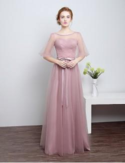 Long Floor Length Satin Tulle Bridesmaid Dress Sheath Column Scoop With Bow