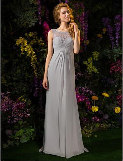 Sweep Brush Train Lace Georgette Bridesmaid Dress A Line Jewel Plus Size Petite With Buttons Lace Criss Cross