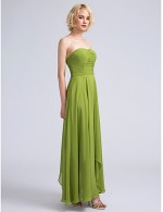 2017 Ankle Length Chiffon Bridesmaid Dress A Line Strapless With Ruching