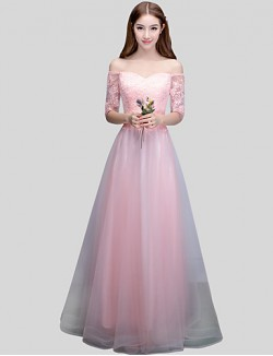 Long Floor Length Lace Dress Satin Tulle Bridesmaid Dress Mini Me Ball Gown Off The Shoulder With Sash Ribbon