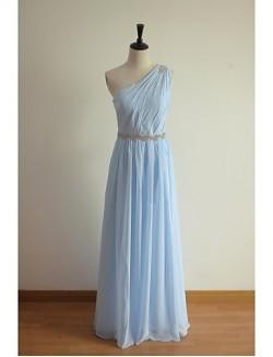 Long Floor Length Chiffon Bridesmaid Dress A Line Sexy One Shoulder With Beading Sash Ribbon