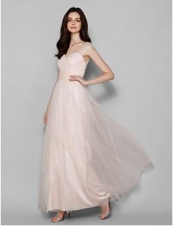 Long Floor Length Tulle Dress Bridesmaid Dress Sheath Column Queen Anne Plus Size Petite With Criss Cross