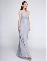 2017 Ankle Length Chiffon Bridesmaid Dress Color Block Sheath Column V Neck With Criss Cross
