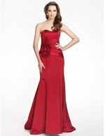 Long Floor Length Satin Bridesmaid Dress Trumpet Mermaid Strapless Sweetheart Plus Size Petite With Draping Flower