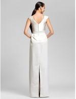 Long Floor Length Satin Bridesmaid Dress Sheath Column V Neck Plus Size Petite With Beading Sash Ribbon