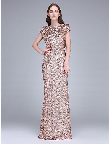 2017 Long Floor Length Sequined Bridesmaid Dress Sheath Column Bateau With Sequins