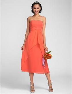 Tea Length Chiffon Bridesmaid Dress A Line Strapless Plus Size Petite With Draping Ruffles
