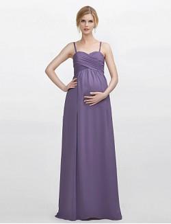 Long Floor Length Chiffon Bridesmaid Dress Sheath Column Spaghetti Straps With Criss Cross