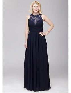 Long Floor Length Chiffon Lace Bridesmaid Dress A Line Jewel With Lace Sash Ribbon Side Draping