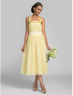 Tea Length Chiffon Stretch Satin Bridesmaid Dress A Line Halter Plus Size Petite With Draping Bandage