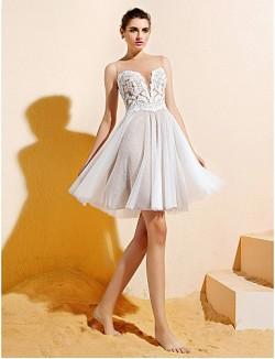Short Knee Length Lace Tulle Bridesmaid Dress A Line Bateau Plus Size Petite With Appliques Buttons