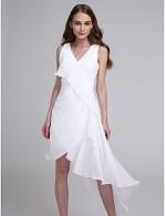 2017 Asymmetrical Chiffon Bridesmaid Dress A Line V Neck With