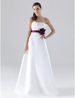 Long Floor Length Satin Bridesmaid Dress A Line Princess Strapless Plus Size Petite WithButtons Draping Flower