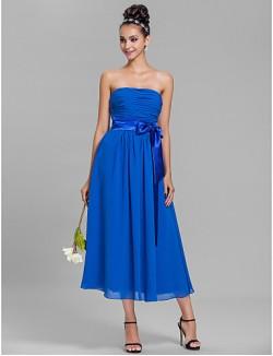 Tea Length Chiffon Bridesmaid Dress A Line Strapless Plus Size Petite With Sash Ribbon Ruching