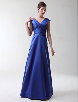 Long Floor Length Stretch Satin Bridesmaid Dress A Line Princess V Neck Plus Size Petite With Criss Cross