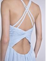 2017 Long Floor Length Chiffon Bridesmaid Dress Sheath Column Spaghetti Straps With Criss Cross