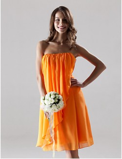 Short Knee Length Chiffon Bridesmaid Dress Sheath Column Strapless Plus Size Petite With Draping Split Front
