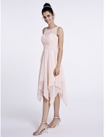 2017 Short Knee Length Chiffon Bridesmaid Dress A Line Scoop With Criss Cross