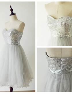 Short Knee Length Tulle Sequined Bridesmaid Dress A Line Sweetheart With Sequins