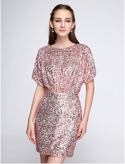 Short Mini Sequined Bridesmaid Dress Sparkle Shine Short Sheath Column Jewel With Sequins