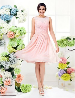 Short Knee Length Georgette Bridesmaid Dress See Through Mini Me A Line Jewel Plus Size Petite With Criss Cross