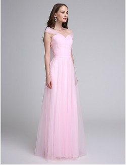 Long Floor Length Tulle Dress Bridesmaid Dress A Line Off The Shoulder With Criss Cross Ruching