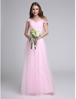 2017 Long Floor Length Tulle Dress Bridesmaid Dress A Line Off The Shoulder With Criss Cross Ruching