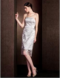 Short Knee Length Lace Bridesmaid Dress Sheath Column Strapless Plus Size Petite With Lace Sash Ribbon