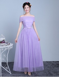Ankle Length Tulle Polyester Bridesmaid Dress A Line Off The Shoulder With Bow Ruching