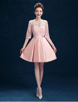 Short Mini Lace Satin Bridesmaid Dress A Line Jewel With Sash Ribbon