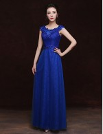 Long Floor Length Lace Dress Bridesmaid Dress Sheath Column Scoop With Appliques
