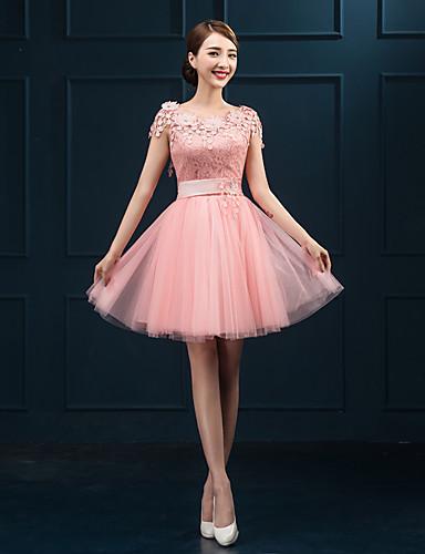 Short Mini Lace Bridesmaid Dress Sheath Column Jewel With Appliques