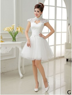 Short Mini Tulle Bridesmaid Dress A Line Princess High Neck Jewel Scoop V Neck With