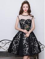 Short Knee Length Satin Tulle Flocking Bridesmaid Dress Ball Gown Jewel With Pattern Print