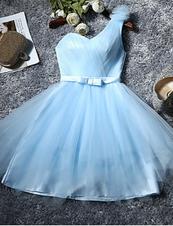 Short Knee Length Tulle Bridesmaid Dress A Line Sexy One Shoulder With Bow