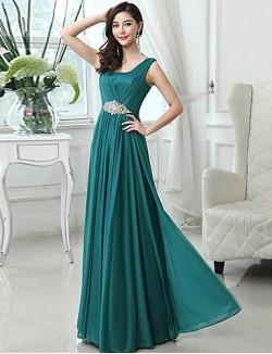 Long Floor Length Chiffon Bridesmaid Dress Elegant A Line Scoop With Beading