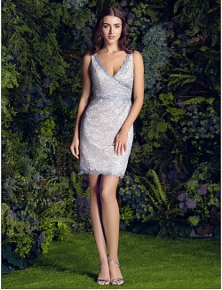 Short Mini Lace Bridesmaid Dress Sheath Column V Neck Plus Size Petite With