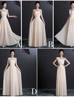 Long Floor Length Chiffon Bridesmaid Dress Sheath Column V Neck With Appliques Lace Sash Ribbon Pleats Bandage